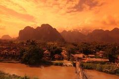 AZJA SOUTHEASTASIA LAOS VANG VIENG LUANG PRABANG Zdjęcie Stock