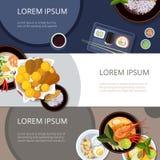 Azja sztandarów wektoru karmowy set Tajlandzki jedzenia, japończyka i chińczyka posiłek, Zdjęcie Stock