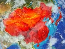 Azja Wschodnia na ziemi od przestrzeni ilustracji