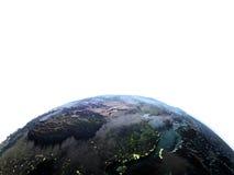 Azja Wschodnia na ziemi przy półmrokiem Obrazy Stock