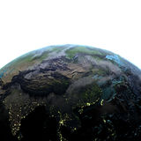 Azja Wschodnia na ziemi przy półmrokiem Zdjęcia Royalty Free