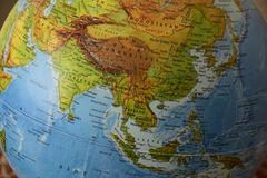 Azja - Wysoce szczegółowa polityczna mapa fotografia stock