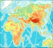Azja ześrodkowywał Fizyczną Światową mapę Zdjęcia Stock
