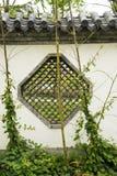 Azjata Chiny, antykwarscy budynki, biel ściany, okno i wzór, Zdjęcie Royalty Free