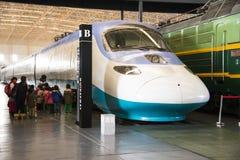 Azjata Chiny, Pekin, Kolejowy muzeum, powystawowa sala, pociąg Obraz Stock