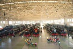 Azjata Chiny, Pekin, Kolejowy muzeum, powystawowa sala, pociąg Fotografia Stock