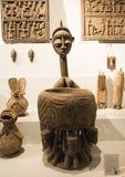Azjata Chiny, Pekin, muzeum narodowe powystawowa sala, Afryka, drewniany cyzelowanie Fotografia Stock