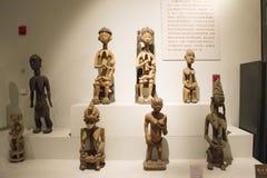 Azjata Chiny, Pekin, muzeum narodowe powystawowa sala, Afryka, drewniany cyzelowanie Obrazy Royalty Free