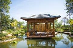 Azjata Chiny, Tianjin Wuqing, Zielony expo, Krajobrazowa architektura lakeï ¼ Œwooden pawilon Zdjęcie Royalty Free