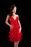 azjata crochet sukni czerwieni kobieta Obrazy Royalty Free