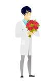 Azjata doktorski mienie bukiet kwiaty royalty ilustracja