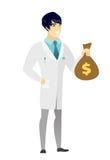 Azjata doktorski mienie pieniądze torba ilustracji