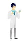 Azjata doktorski mienie telefon komórkowy ilustracja wektor