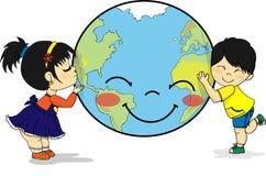 Azjata dzieciaki ściska uśmiechniętą planety ziemię i całuje ilustracja wektor