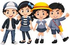 Azjata dzieciaki z szczęśliwą twarzą ilustracji