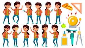 Azjata dziewczyny Szkolne pozy Ustawiający wektor uczeń Śmieszny, przyjaźń, szczęście przyjemność Dla sieci, plakat, broszura pro ilustracji