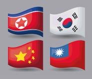 Azjata flaga projekt ilustracji