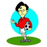 Azjata, gracz piłki nożnej kreskówka royalty ilustracja