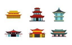 Azjata ikony grodowy set, mieszkanie styl royalty ilustracja