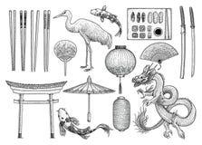 Azjata, japończyk, Chińska kolekcja, ilustracja, rysunek, rytownictwo, atrament, kreskowa sztuka, wektor royalty ilustracja
