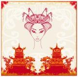 Azjata Krajobrazowa i piękna gejsza ilustracja wektor
