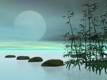 Azjata kroki księżyc - 3D odpłacają się ilustracji
