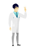 Azjata lekarka pokazuje zwycięstwo gest ilustracja wektor
