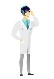Azjata lekarka w słuchawki z mikrofonem ilustracji