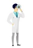 Azjata lekarka z powiększać - szkło royalty ilustracja