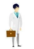 Azjata mienia doktorska teczka ilustracji