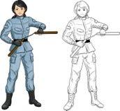 Azjata Nunchuck dziewczyna w wojskowym uniformu ilustracji