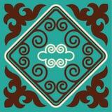 Azjata ornamentuje kolekcję Historycznie ornamentacyjny koczowniczy ludzie Ja opierał się na kazach dywanach odczuwany i wełna Obrazy Stock