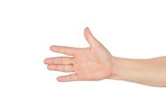 Azjata otwarta ręka odizolowywająca na bielu Fotografia Stock