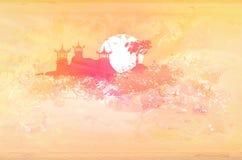 azjata papier krajobrazowy stary royalty ilustracja