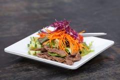 Azjata Pokrajać wołowiny sałatki z czerwoną kapustą i marchewkami obraz stock