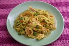 Azjata smażący ryż z warzywami Fotografia Royalty Free