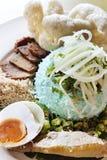 Azjata Stylowy Błękitny Rice z Condiments Fotografia Royalty Free
