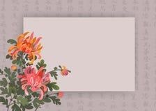 Azjata stylowy tło z chryzantema kwiatami i chińską kaligrafią Elegancki projekta szablon z przestrzenią dla twój teksta ilustracja wektor