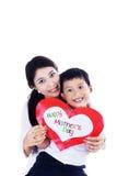 Azjata syna i matki mienia miłości karta - odosobniona Zdjęcie Royalty Free