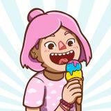 azjata szyszkowy kremowy łasowania dziewczyny lód ilustracja wektor