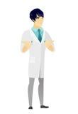 Azjata wprawiać w zakłopotanie lekarka wzrusza ramionami ramiona ilustracji