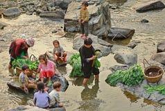 Azjata z dziećmi, myć zielenie w wiejskiej rzece. Zdjęcia Royalty Free