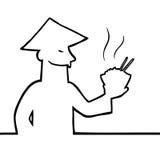 Azjata z pucharem jedzenie i chopsticks ilustracji