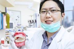Azjatyccy dentysty przedstawienia zębów brasy przy kliniką Obraz Stock