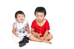 Azjatyccy dzieci są szczęśliwym nowym rokiem Obrazy Stock