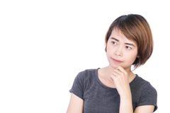 Azjatyccy ludzie: Piękna mądrze młoda dama na białym tle zdjęcia stock