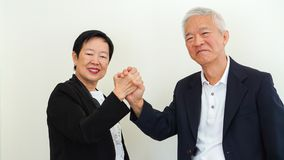 Azjatyccy starsi ludzie biznesu pary mienia ręki dla pomyślnego Zdjęcia Royalty Free