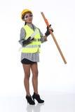 Azjatycka architekta inżyniera kobieta w żółtym ciężkim kapeluszu, bezpieczeństwo szeroki Zdjęcia Stock
