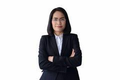 Azjatycka biznesowej kobiety odzież działanie i szkła munduruje z com Fotografia Royalty Free