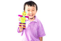 Azjatycka chłopiec bawić się Lego Fotografia Royalty Free